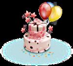 PNG - Aniversário bolo e balão